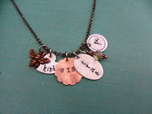 Bee Kind Bee Wise Bee True Custom Hand Stamped Mixed Metals Copper And Aluminum Necklace with Swoarvski Crystal by MyBella