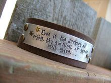 Even In The Darkest Of Nights The Smallest Of Stars Will Shine Custom Hand Cut Leather Custom Hand Stamped Cuff Bracelet by MyBella