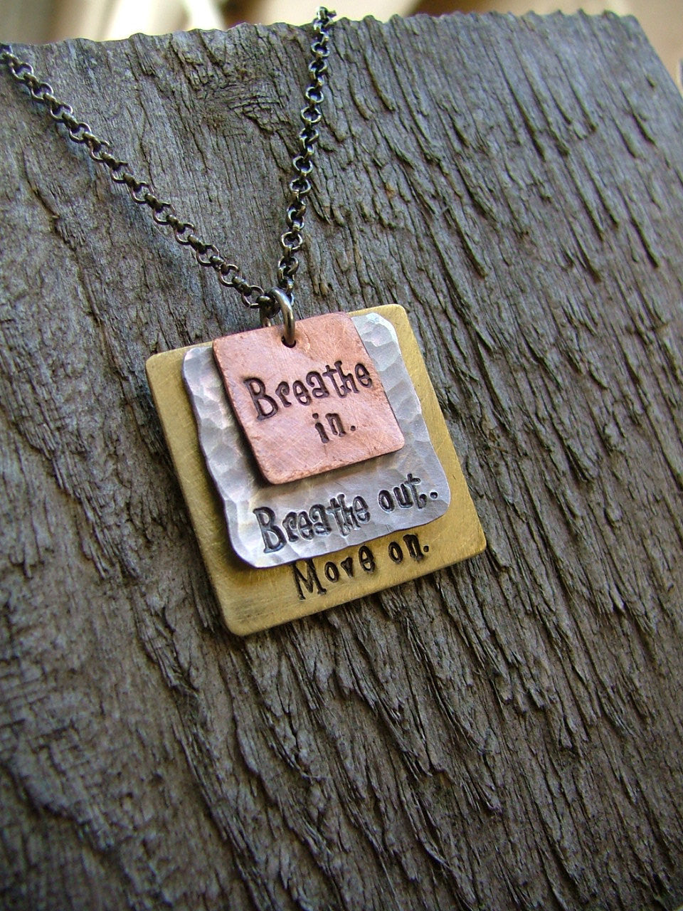 Breathe In Breathe Out Move On Custom Hand Stamped Mixed Metals Stacked Squares Pendant Necklace by MyBella