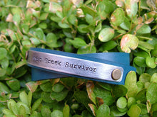 Shit Creek Survivor Double Wrap Denim Blue Leather Cuff Bracelet with Custom Hand Stamped Metal by MyBella