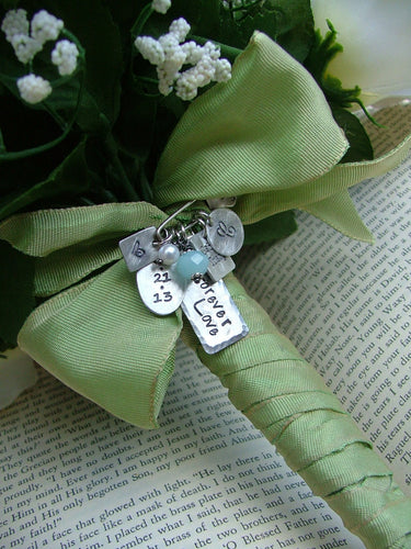 Something Blue Custom Hand Stamped Bridal Bouquet Pin and Necklace For Brides Wedding Day by MyBella
