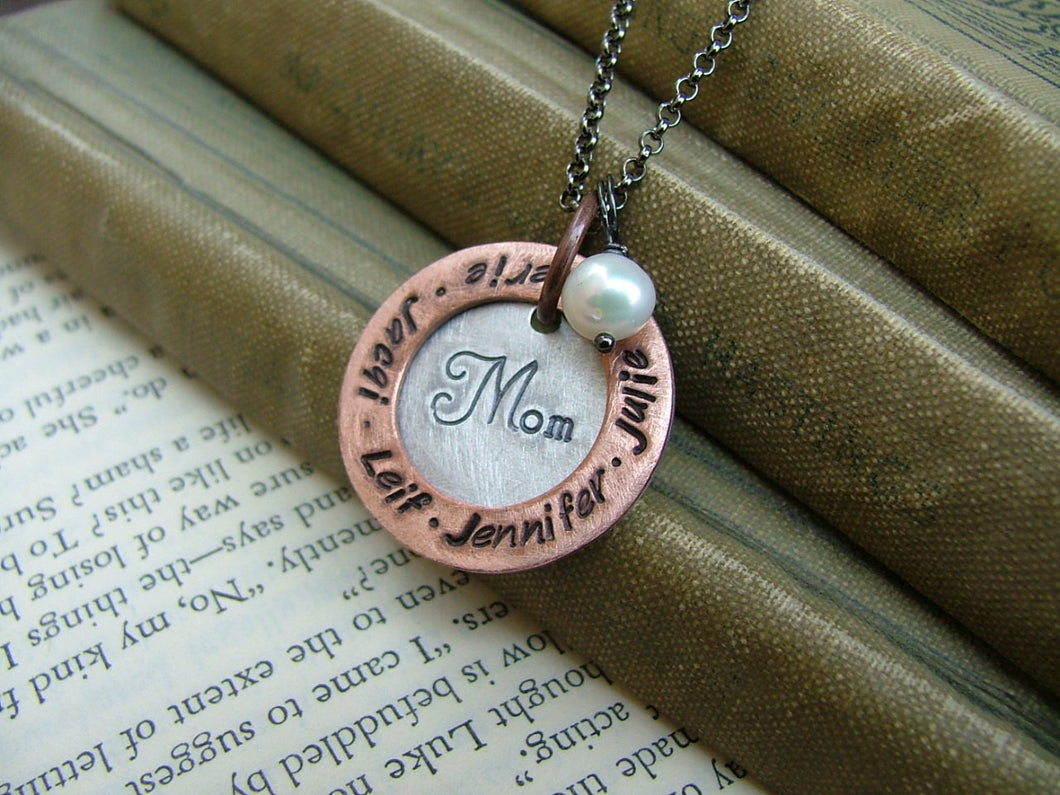 Mom's Gifts Custom Hand Stamped Mother's Necklace with Freshwater Pearl and Washer by MyBella