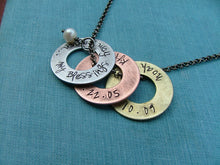 My Blessings From Heaven Custom Hand Stamped Mother's or Grandmother's Aluminum Copper Brass Mixed Metals Washer Necklace by MyBella