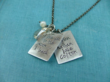 I love you to the Moon & Back Custom Hand Stamped Necklace with Swarovksi Crystal Moon and Freshwater Pearl by MyBella