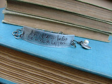 Don't Give Up Before The Miracle Happens Custom Hand Stamped Personalized Inspiration Cuff with Adjustable Chain by MyBella