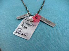 I WAS Stronger Than My Cancer Custom Hand Stamped Fighting Cancer Pendant Necklace by MyBella