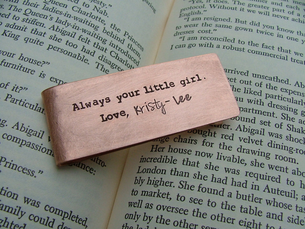 Always Your Little Girl Custom Hand Stamped Father of the Bride Money Clip Copper or Aluminum by MyBella