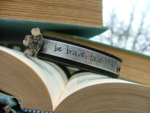 Be Brave Take Risks Custom Hand Stamped Motivational Leather Cuff with Hand Altered Metal Cherry Blossoms by MyBella