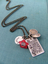 My Greatest Blessings Call Me Mom Custom Hand Stamped Mommy Necklace with Resin Bloom and Swarovski Crystal by MyBella