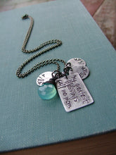 My Greatest Blessings Call Me Mom Custom Hand Stamped Mommy Necklace with Kids Names And Blue Chalcedony Stone by MyBella