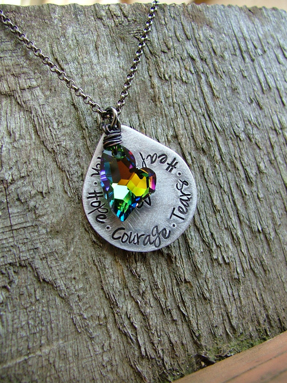 Faith Hope Courage Tears Healing Love All Part of the Process Custom Hand Stamped Teardrop Necklace with Swarovski Crystal Heart by MyBella