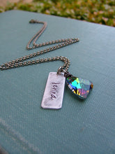 What We're Made Of Custom Hand Stamped Teardrop Necklace with Swarovski Crystal Heart by MyBella