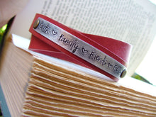 Faith Family Friends Focus Custom Hand Stamped Double Strand Leather Cuff Bracelet by MyBella