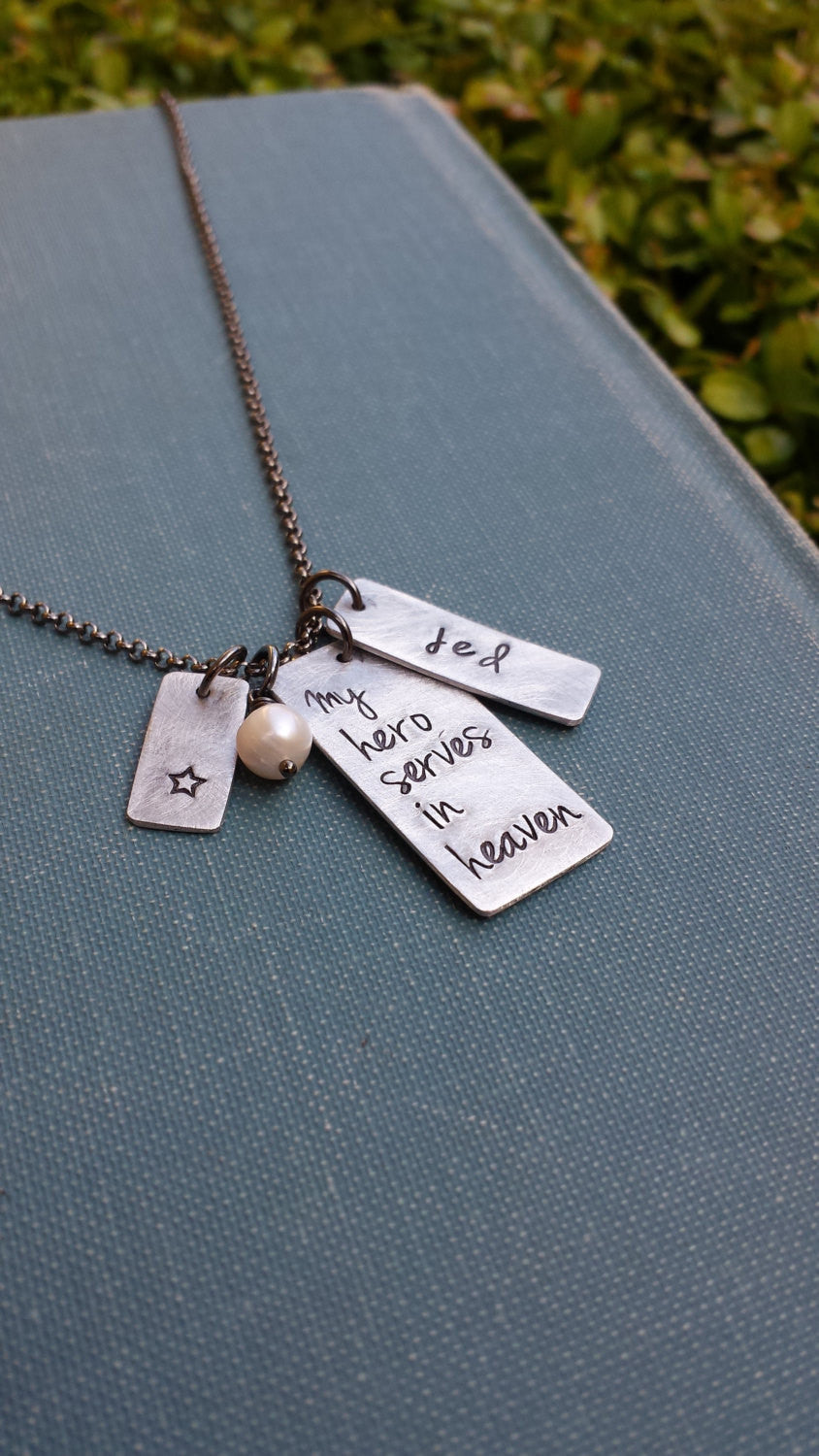My Hero Serves In Heaven Custom Hand Stamped Aluminum Fallen Officers Wife Fallen Officers Mother's Necklace by MyBella