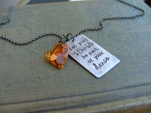 Let Your Stumble Be Part Of Your Dance Custom Hand Stamped Necklace with Amber Swarovski Crystal Heart Pendant by MyBella