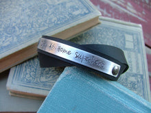 Stay At Home Superhero 1/2 Inch Double Strand Leather Cuff Bracelet with Custom Hand Stamped Metal by MyBella