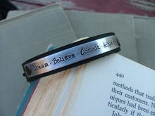 Dream Believe Commit Achieve Custom Hand Stamped 1/2 Inch Leather Cuff Bracelet by MyBella