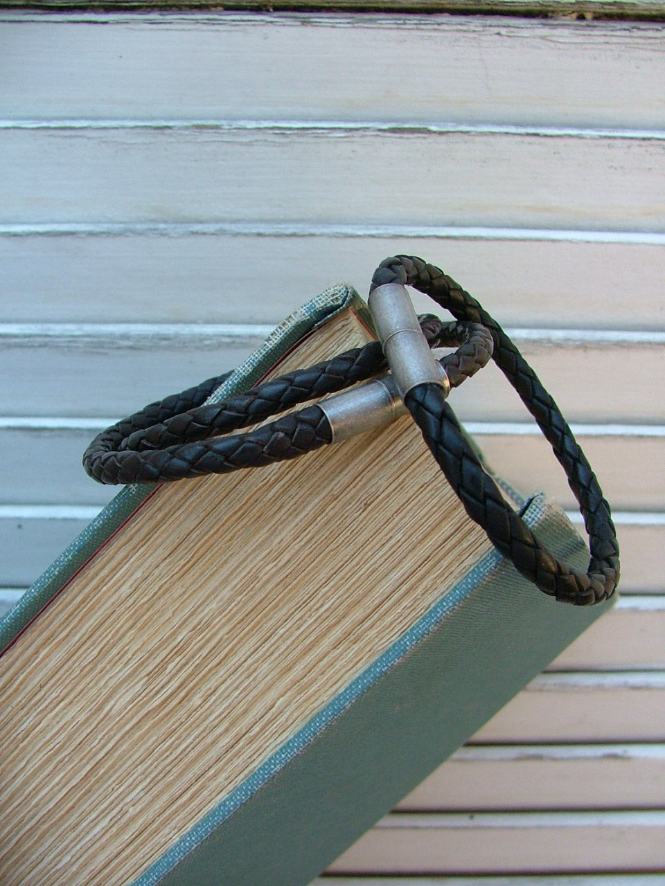 Simple Strands Custom Cut Braided Leather Cuffs with Magnetic Clasp by MyBella