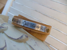 Mature Warning Do No Harm But Take No Sh*t Double Strap Leather Cuff Bracelet with Custom Hand Stamped Metal by MyBella
