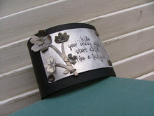 Hide Your Crazy And Start Actin' Like A Lady Custom Hand Stamped 2 Inch Supple Black Leather Cuff With Cherry Blossom Accent by MyBella