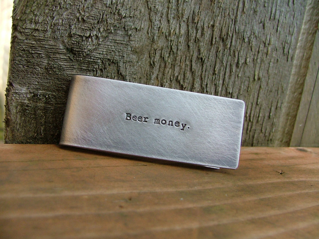 Beer Money Custom Hand Stamped Money Clip with Beer Mug Image in Aluminum or Copper by MyBella