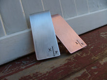 Split Initials Off Set Monogram Custom Hand Stamped Aluminum or Copper Personalized Money Clip by MyBella