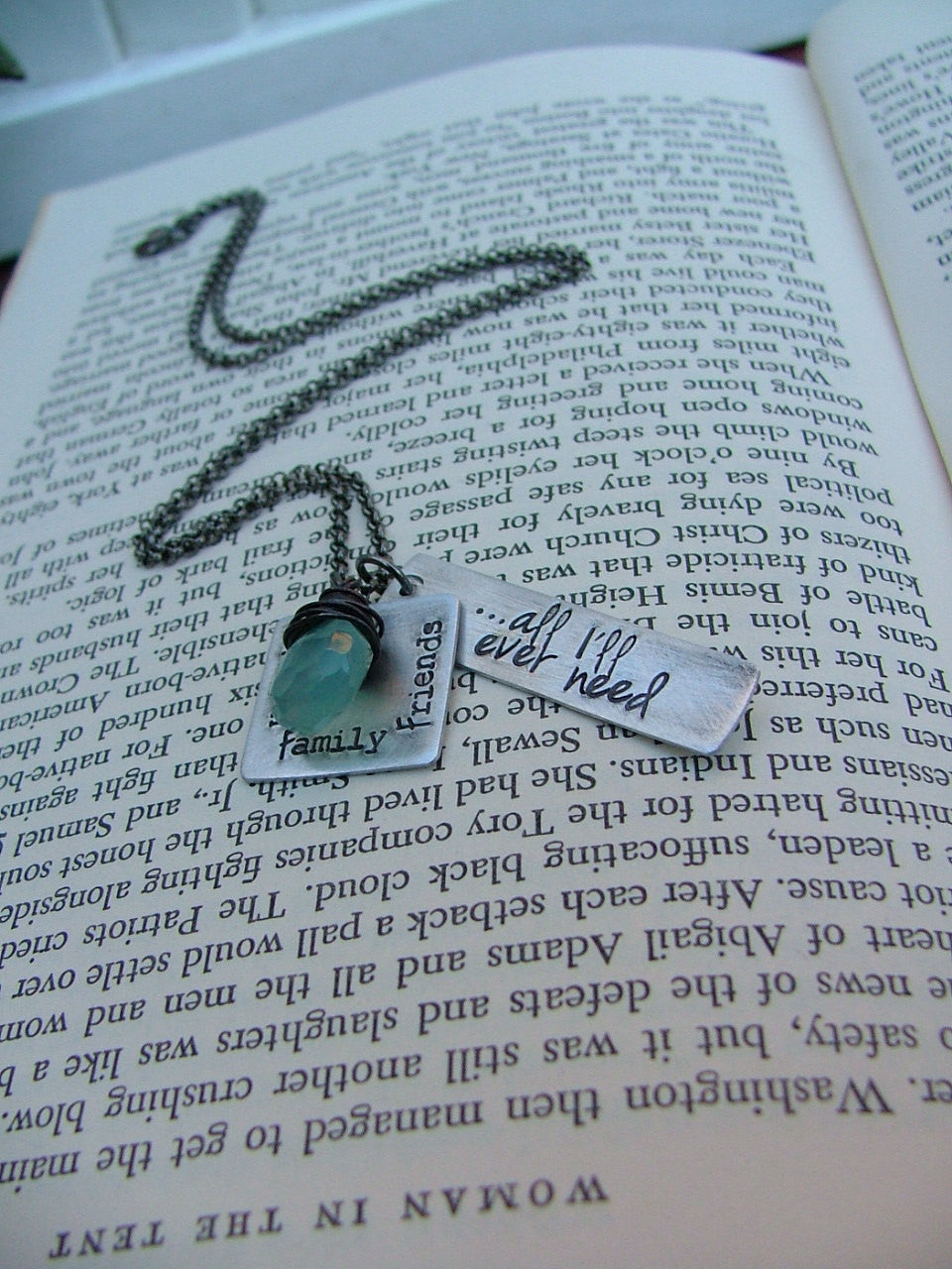 All I'll Ever Need Custom Hand Stamped Thankful Mommy Necklace with Wire Wrapped Blue Chalcedony Stone by MyBella