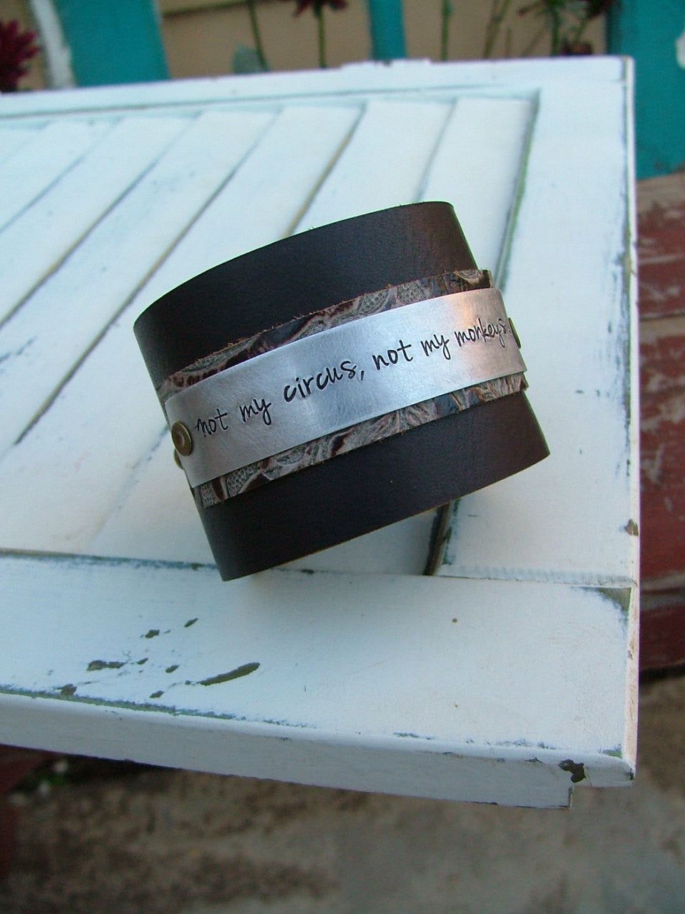 Not My Circus Not My Monkeys Embossed Layered Leather 2 Inch Tall Cuff with Custom Hand Stamped Metal by MyBella