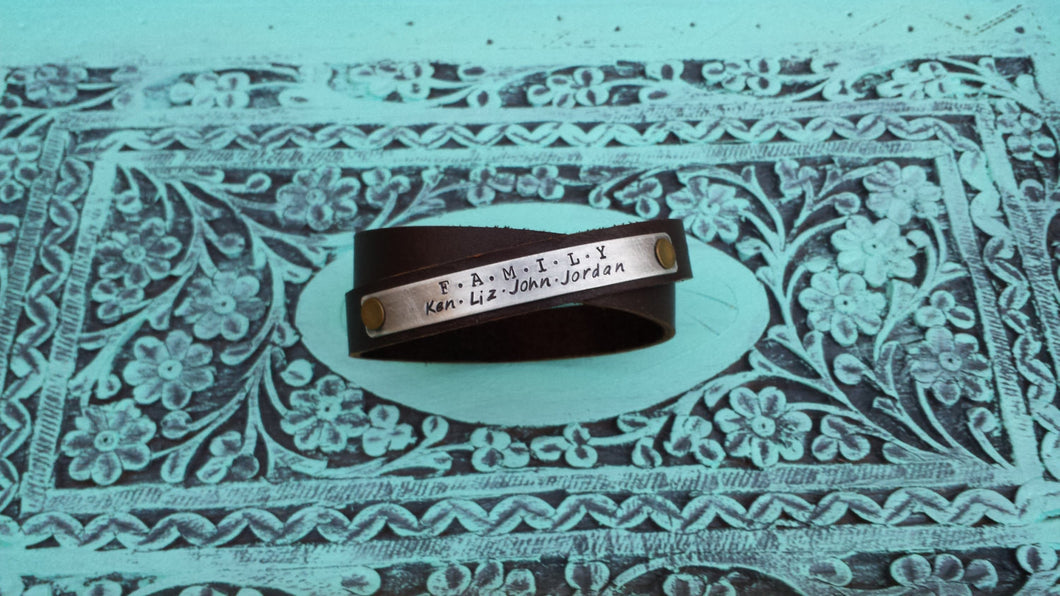 What Makes A Family Mahogany Brown Double Strap Leather Cuff Bracelet with Custom Hand Stamped Metal What Makes A Family by MyBella