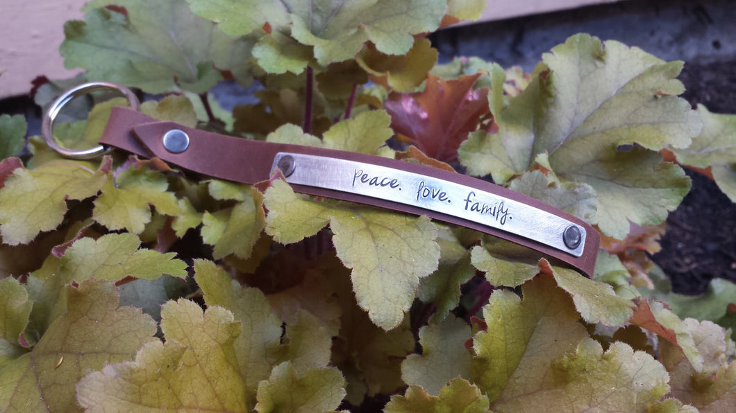 Peace. Love.  Family. Custom Hand Stamped Supple Brown Russet Hand Cut Leather Wristlet Key Chain Key Fob Lanyard by MyBella
