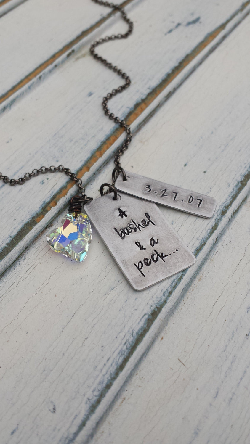 A Bushel and A Peck and A Hug Around The Neck Custom Hand Stamped Mother's Necklace with Kids and Swarovski Crystal Heart by MyBella