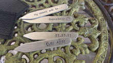 Ever After Wedding Date Anniversary Custom Hand Stamped Thick Aluminum Collar Stays with Free Pocket Holder  by MyBella