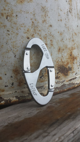 Established In Custom Hand Stamped Double Carabiner Clip Key Chain Personalized Geekery by MyBella