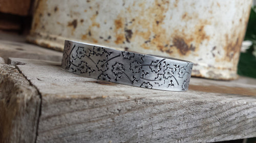 A Thousand Wishes Dandelion Field Custom Hand Stamped Adjustable Cuff in Copper or Aluminum by MyBella