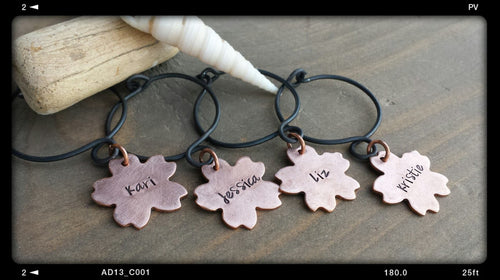 Girls Beach Weekend Wine Charms Custom Hand Stamped Copper Hibiscus Blooms with Hand Made Metal Rings by MyBella