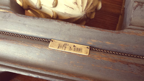 For The Love Of Us Wedding Anniversary Date Custom Hand Stamped Arrow Accent Wedding Wedding Anniversary Suspension Necklace  by MyBella