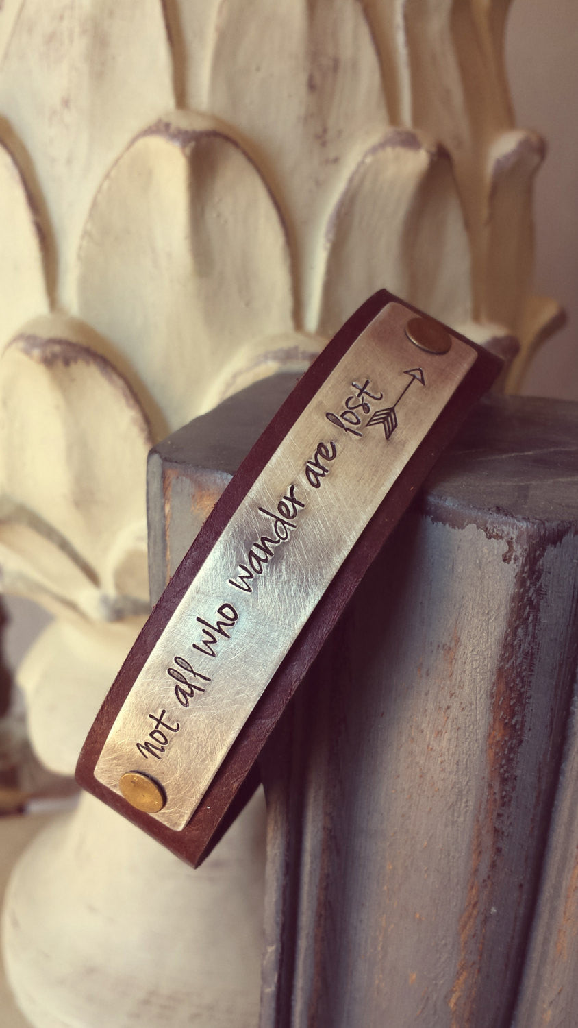 Not All Who Wander Are Lost Custom Hand Stamped Arrow Accent 3/4 Inch Supply Mahogany Hand Cut Leather Cuff  by MyBella