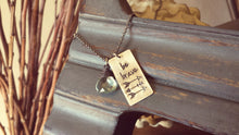 Be Brave Custom Hand Stamped Arrow Accent Necklace with Limited Edition Aquamarine Briolette Quartz Drop by MyBella