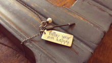 Follow Your Own Happy Custom Hand Stamped Arrow Accent Charm Necklace with Freshwater Pearl by MyBella