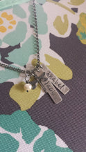 So Simple, This Love Custom Hand Stamped Mommy Necklace with Freshwater Pearl and Bee Fleur de Lis Dragonfly or Leaf Charm by MyBella