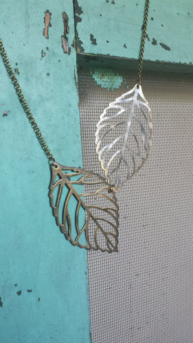 Forever Fall Custom Length Brass Filigree Leaf Necklace by MyBella