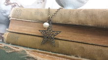 This Charming Star Antique Brass Filigree Star with Freshwater Pearl by MyBella