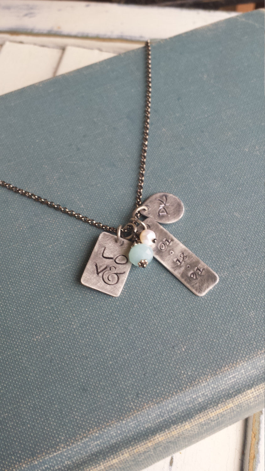 LOV& Custom Hand Stamped Anniversary Neckace with Peruvian Blue Quartz and Freshwater Pearl  by MyBella