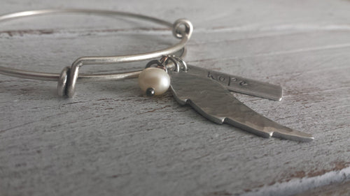 Hope Custom Hand Stamped Flex Adjust Float Cuff with Hand Hammered Wing and Freshwater Pearl by MyBella