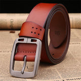 100% cowhide genuine leather belts for men brand male pin buckle jeans cowboy Mens Belts Luxury Leather - Justt Click