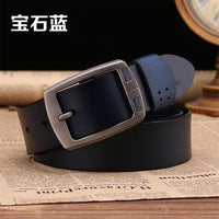 100% cowhide genuine leather belts for men brand male pin buckle jeans cowboy Mens Belts Luxury Leather-Justt Click