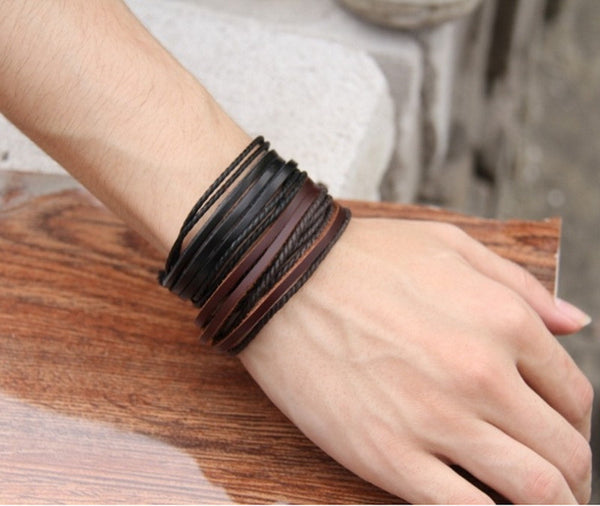 Fashion Jewelry Wrap Charm Genuine Leather Bracelet with Braided rope Unisex for Men & Women-Justt Click