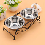 Vintage Stainless Steel Dog Pet Food Water Feeder 2 Bowls +Iron Elevated Stand-Justt Click