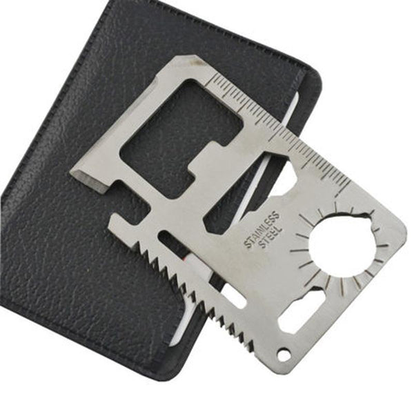 1pc Multi Tools 11 in 1 Multifunction Outdoor Hunting Survival Camping Pocket Military Card Silver-Justt Click