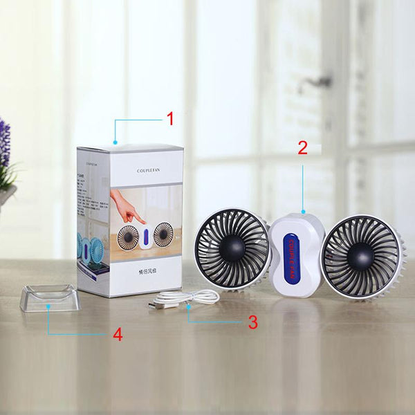 2 Motors Summer Couples Air Conditioner Fan Rechargeable Li Battery Air Conditioning Ventilador Fans Portable Mini USB Fan-Justt Click